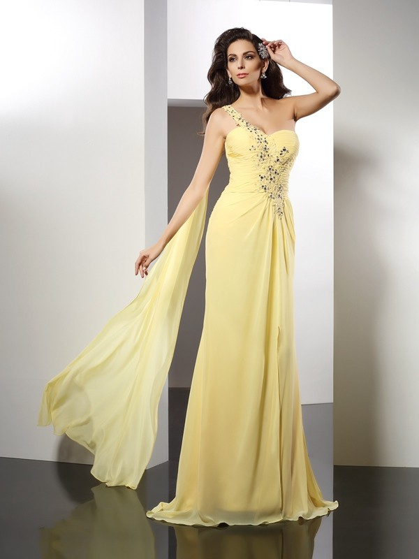 Fancy A-Line One-Shoulder Sleeveless Long Chiffon Dress