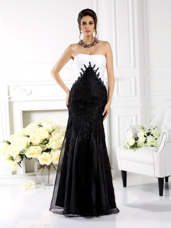 Fancy Mermaid Strapless Sleeveless Long Tulle Mother of the Bride Dress