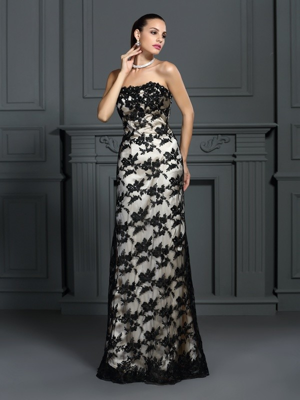 Fancy Sheath Strapless Lace Sleeveless Long Elastic Woven Satin Dress