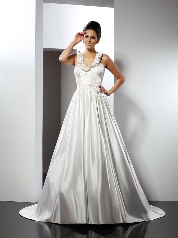 Gorgeous A-Line Halter Sleeveless Long Satin Wedding Dress