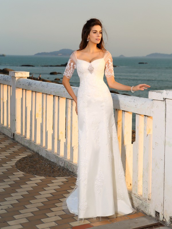 Gorgeous Sheath Sweetheart Short Sleeves Long Satin Beach Wedding Dress
