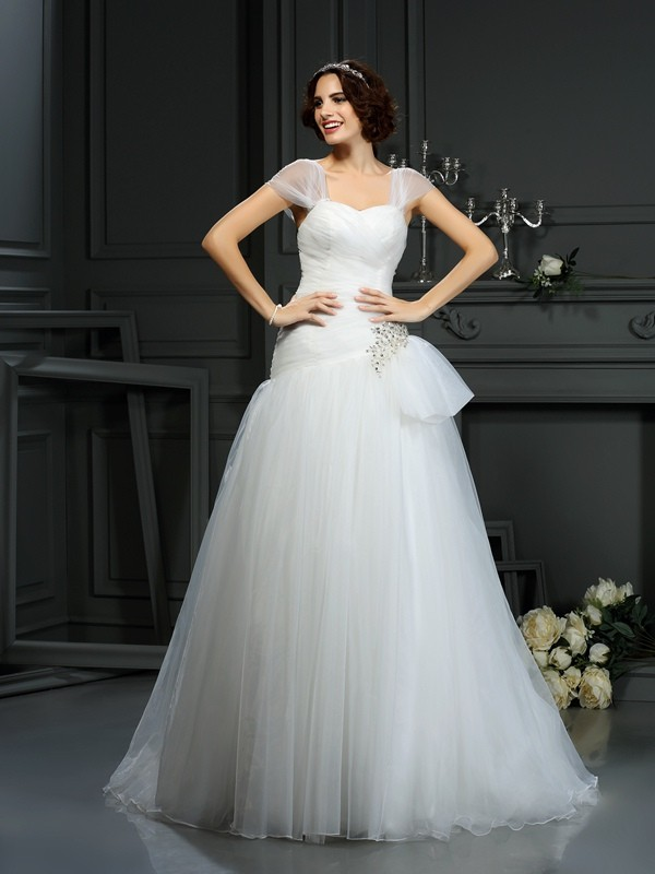 Gorgeous A-Line Sweetheart Sleeveless Long Organza Wedding Dress