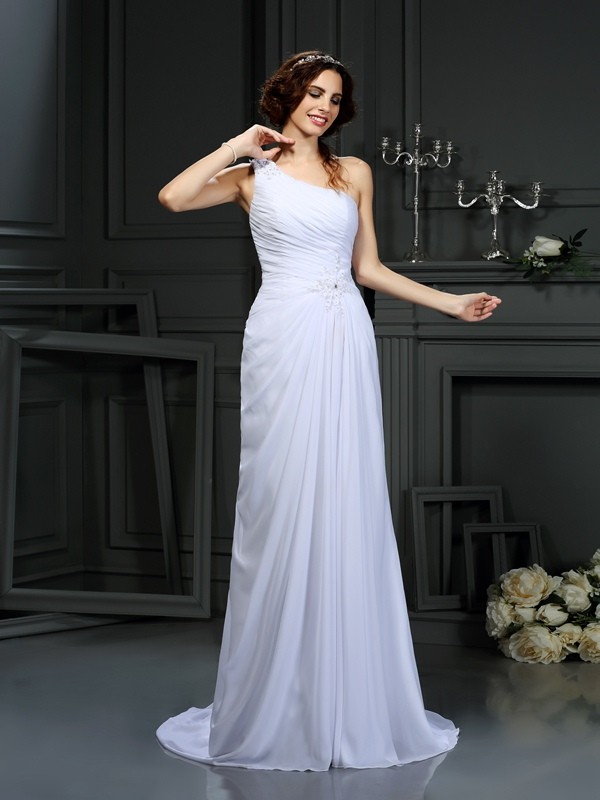 Gorgeous A-Line One-Shoulder Sleeveless Long Chiffon Wedding Dress