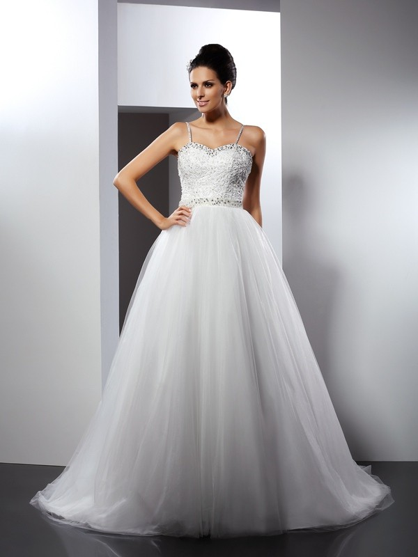 Gorgeous A-Line Spaghetti Straps Sleeveless Long Tulle Wedding Dress