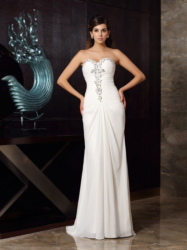 Gorgeous Mermaid Sweetheart Sleeveless Long Chiffon Dress