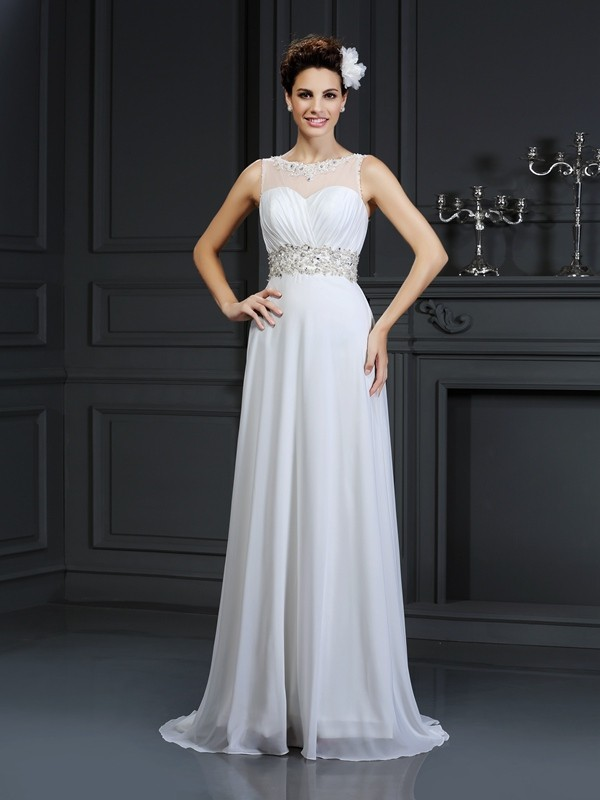 Gorgeous A-Line Bateau Sleeveless Long Chiffon Wedding Dress