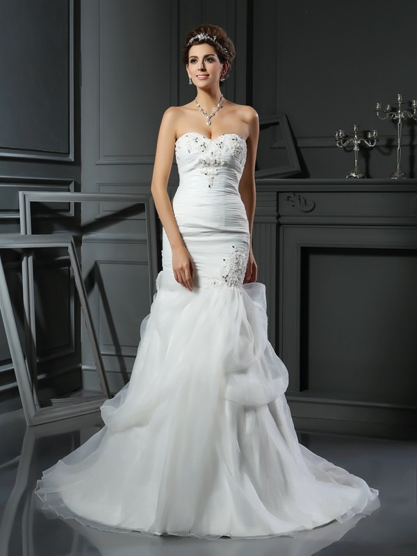 Gorgeous Mermaid Sweetheart Sleeveless Long Net Wedding Dress
