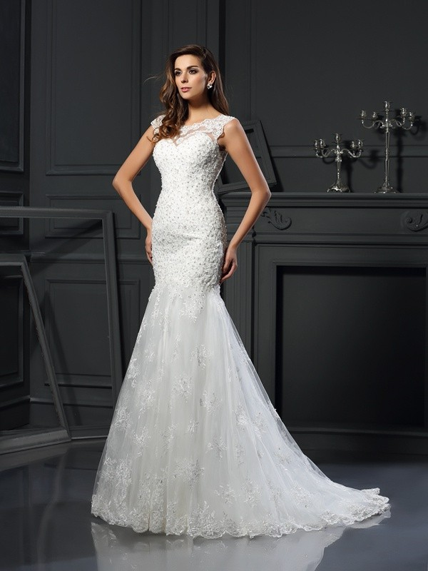 Gorgeous Mermaid Scoop Short Sleeves Long Tulle Wedding Dress
