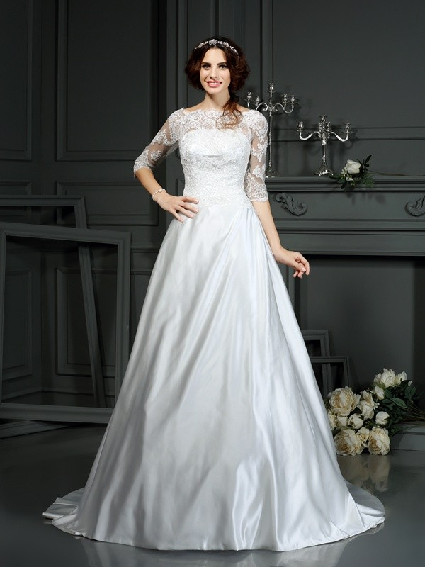 Gorgeous A-Line Bateau Lace 1/2 Sleeves Long Satin Wedding Dress
