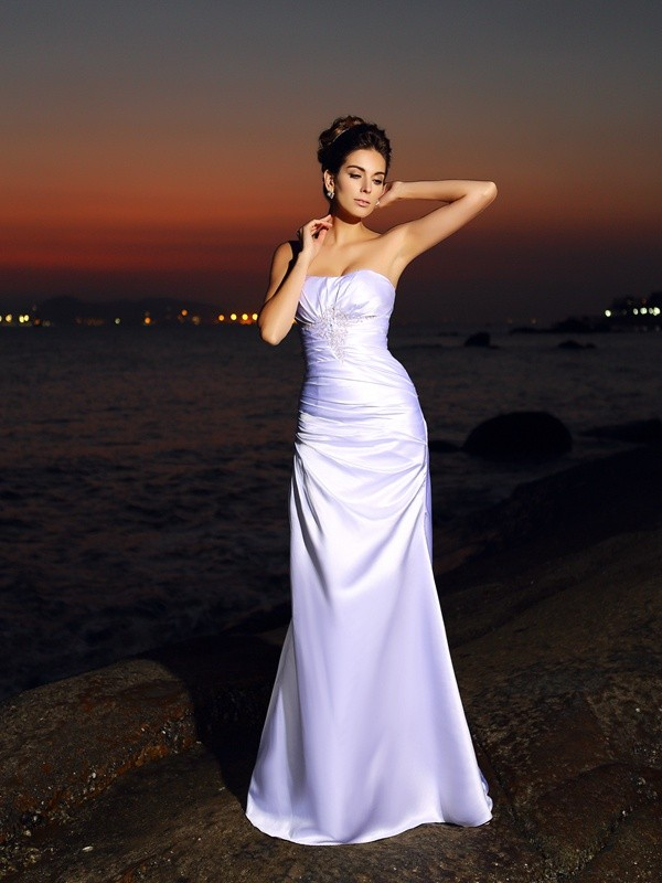 Gorgeous Mermaid Sweetheart Sleeveless Long Satin Beach Wedding Dress
