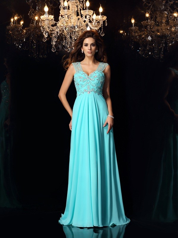 Gorgeous A-Line Sweetheart Sleeveless Long Chiffon Dress