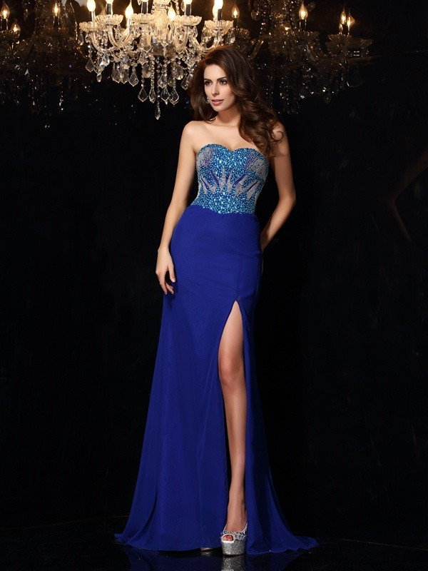 Unique Sheath Sweetheart Sleeveless Long Chiffon Dress