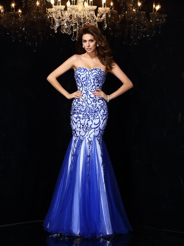 Unique Sheath Sweetheart Sleeveless Long Net Dress