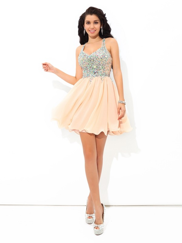 Unique A-Line Straps Sleeveless Short Chiffon Cocktail Dress
