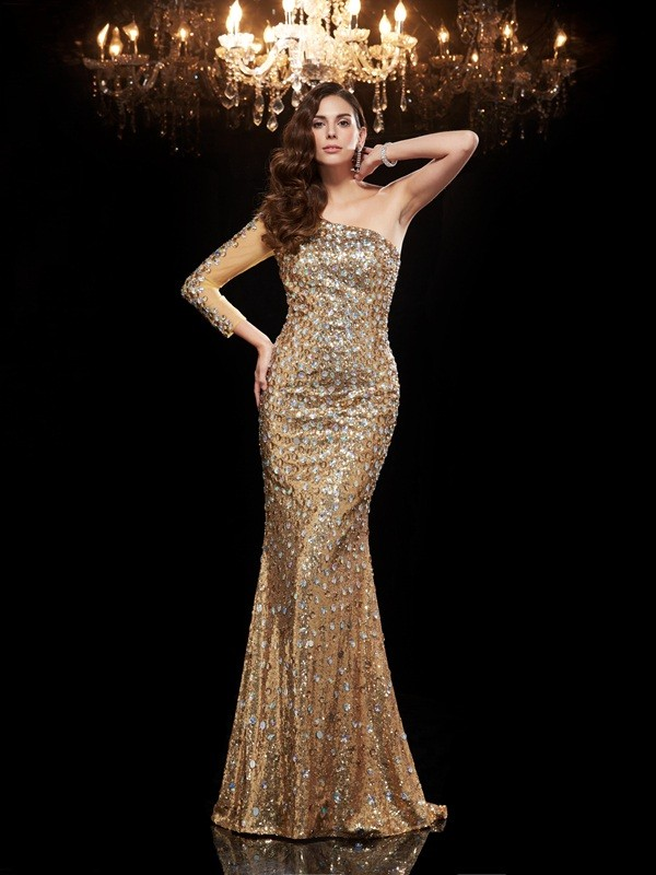 Unique Mermaid One-Shoulder 3/4 Sleeves Long Sequins Dress