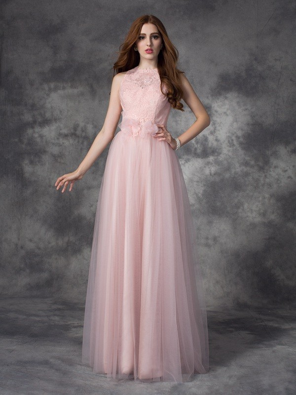 Unique A-Line Bateau Sleeveless Long Net Dress
