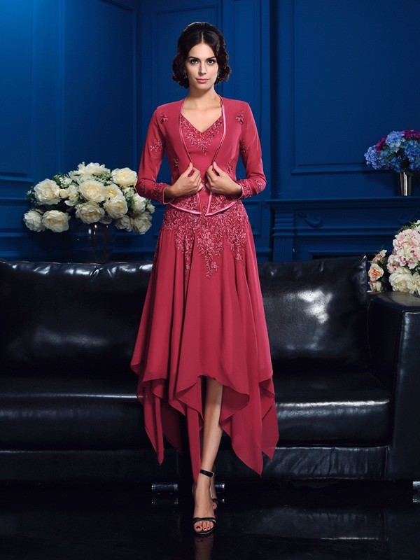 Nice A-Line V-neck Sleeveless High Low Chiffon Mother of the Bride Dress