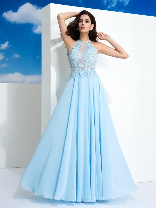 Nice A-Line Spaghetti Straps Sleeveless Long Chiffon Dress