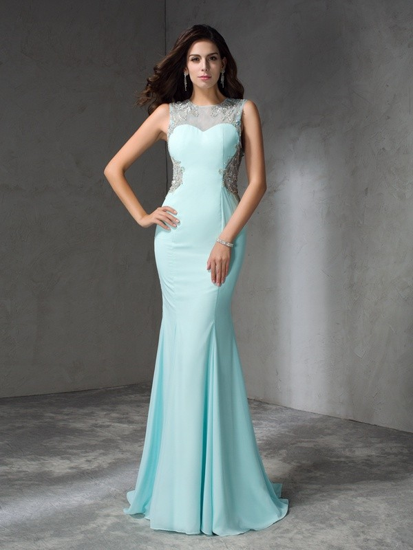 Nice Mermaid Jewel Sleeveless Long Chiffon Dress