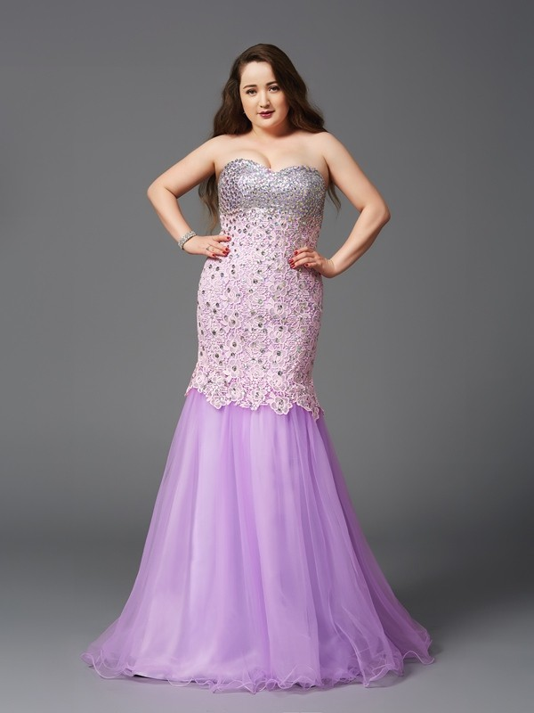 Nice Mermaid Sweetheart Sleeveless Long Net Plus Size Dress
