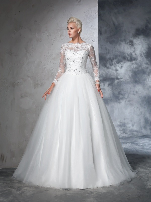 Nice Ball Gown Bateau Lace Long Sleeves Long Net Wedding Dress