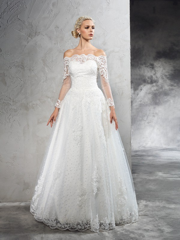 Nice Ball Gown Off-the-Shoulder Lace Long Sleeves Long Net Wedding Dress