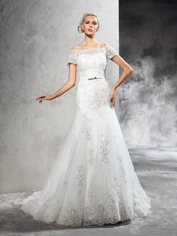 Nice Sheath Off-the-Shoulder Short Sleeves Long Net Wedding Dress