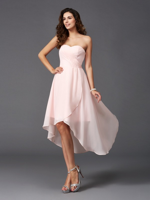 Nice A-Line Sweetheart Sleeveless High Low Chiffon Bridesmaid Dress