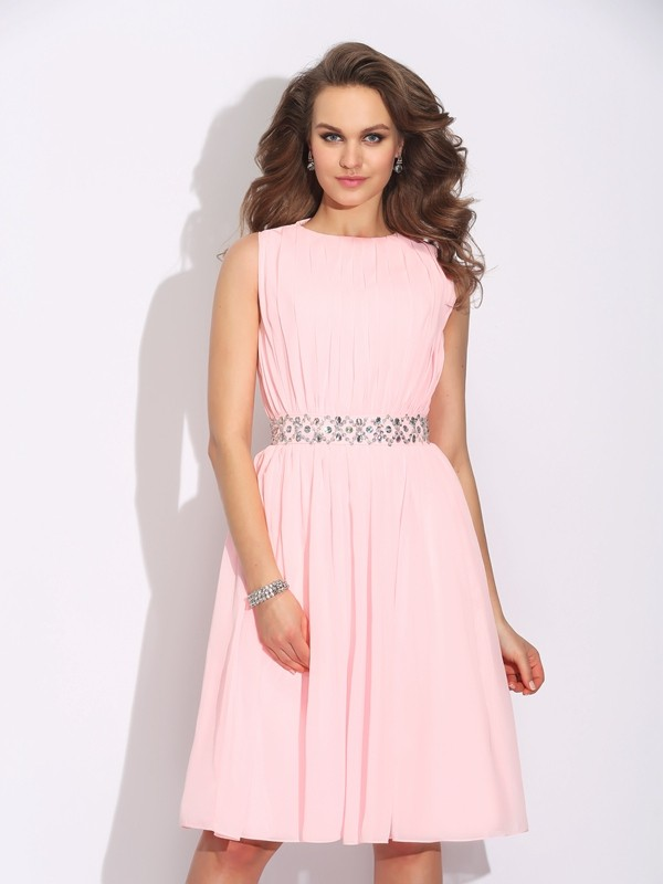 Amazing A-Line Jewel Sleeveless Short Chiffon Dress