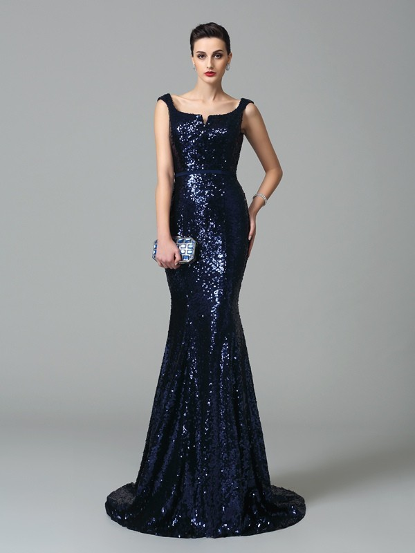 Amazing Mermaid Straps Sleeveless Long Sequins Dress