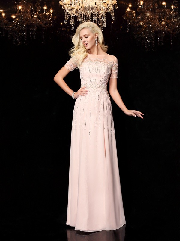 Amazing A-Line Bateau Short Sleeves Long Chiffon Dress