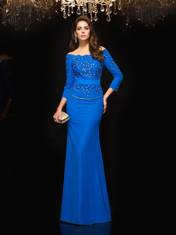 Amazing Sheath Off-the-Shoulder 3/4 Sleeves Long Chiffon Dress