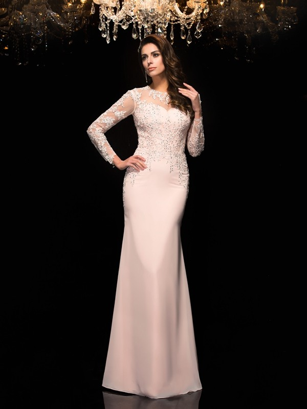 Amazing Sheath Sheer Neck 3/4 Sleeves Long Chiffon Dress