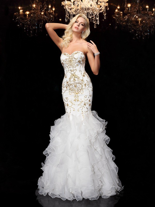 Amazing Mermaid Sweetheart Sleeveless Long Organza Dress