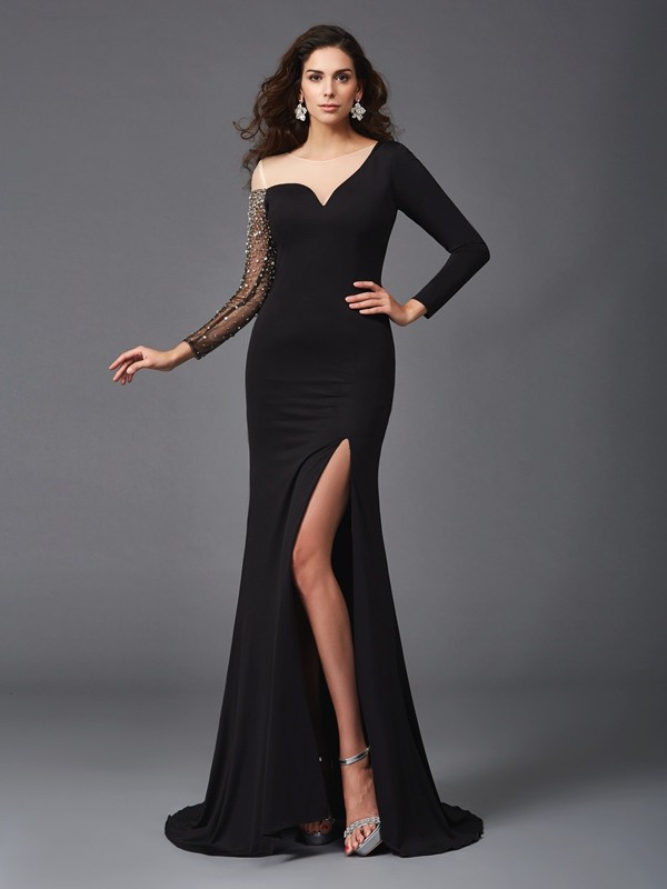 Amazing Sheath Scoop 3/4 Sleeves Long Spandex Dress