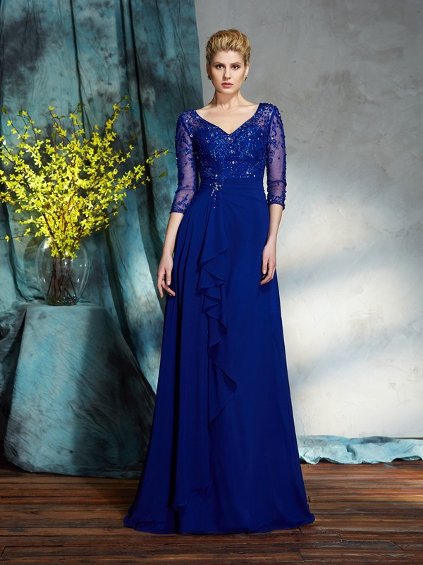 Amazing A-Line V-neck Sequin 3/4 Sleeves Long Chiffon Mother of the Bride Dress