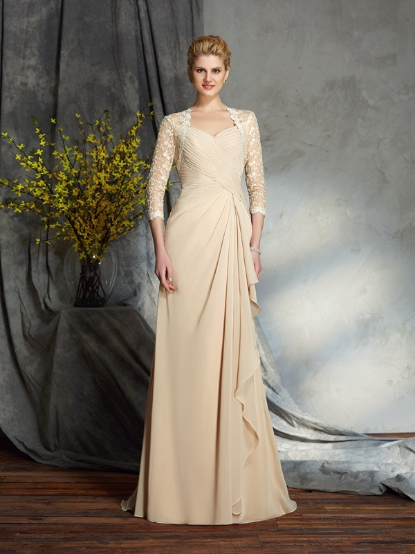 Amazing A-Line Sweetheart Lace 3/4 Sleeves Long Chiffon Mother of the Bride Dress