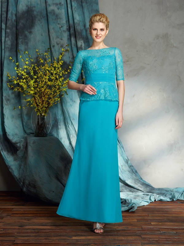 Amazing Sheath Bateau 1/2 Sleeves Long Chiffon Mother of the Bride Dress