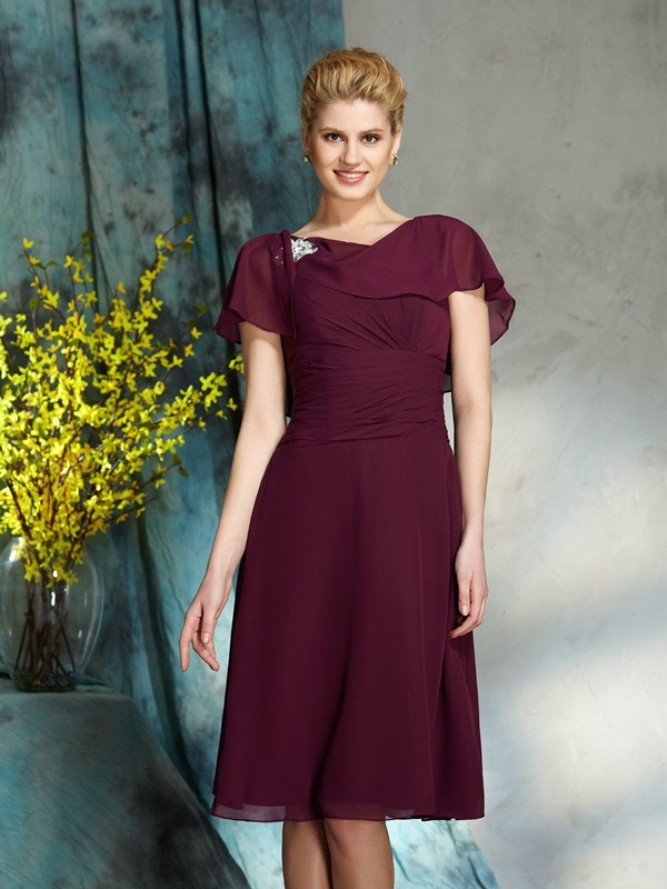Amazing A-Line Scoop 1/2 Sleeves Short Chiffon Mother of the Bride Dress