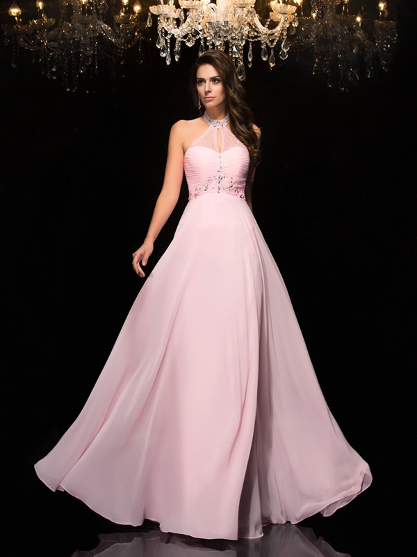 Glamorous A-Line Halter Sleeveless Long Chiffon Dress