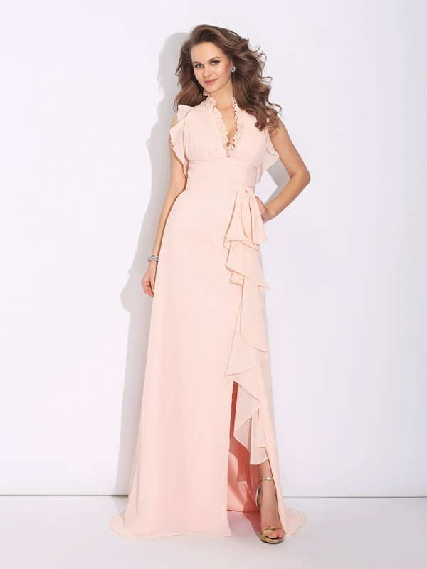 Glamorous A-Line High Neck Sleeveless Long Chiffon Dress