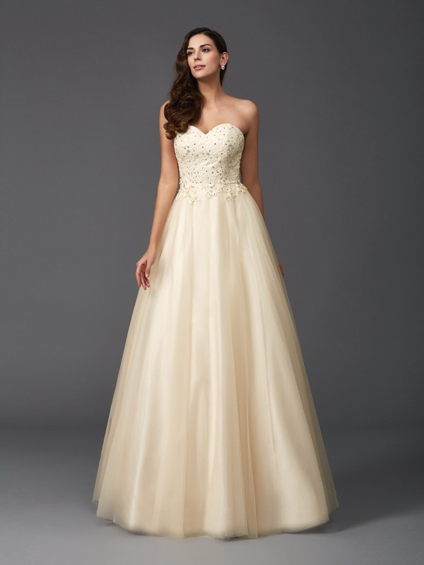 Glamorous A-Line Sweetheart Sleeveless Long Net Dress