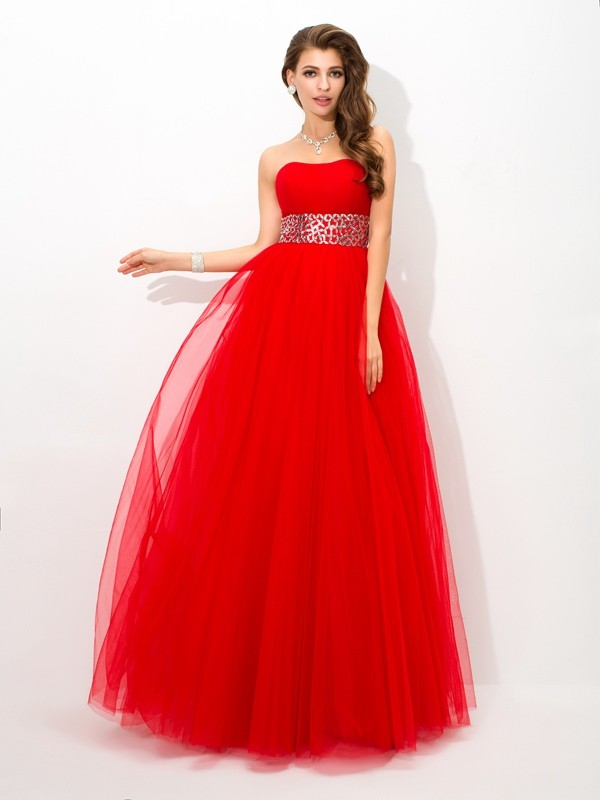 Glamorous Ball Gown Strapless Sleeveless Long Net Quinceanera Dress