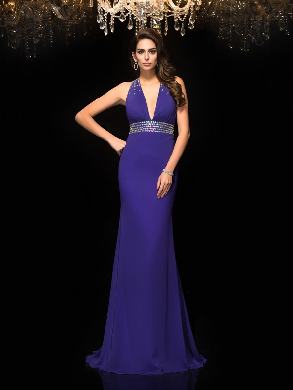 Glamorous Mermaid V-neck Sleeveless Long Chiffon Dress