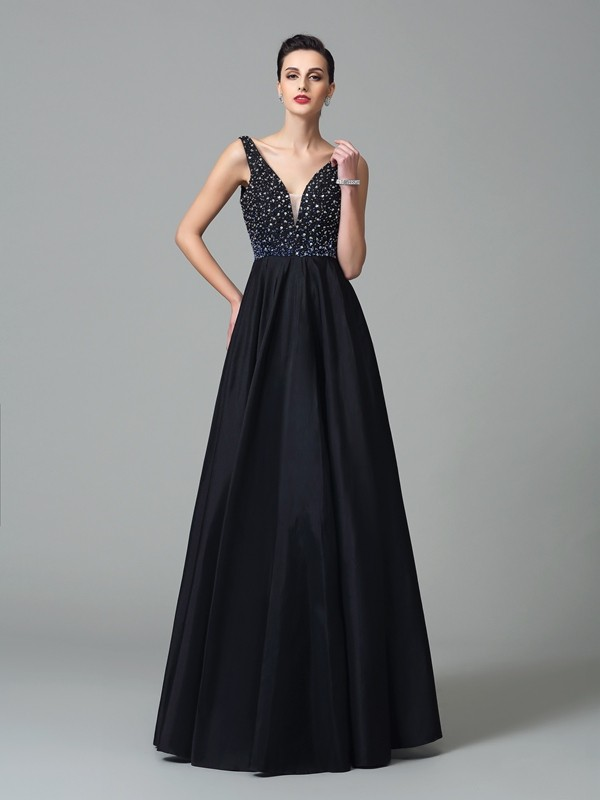 Glamorous A-Line Straps Sleeveless Long Taffeta Dress