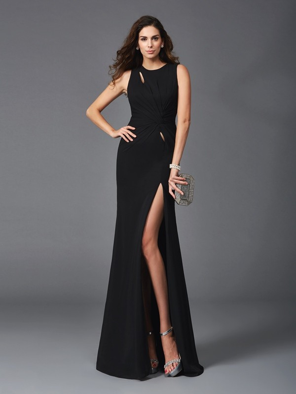 Glamorous Sheath Scoop Sleeveless Long Chiffon Dress