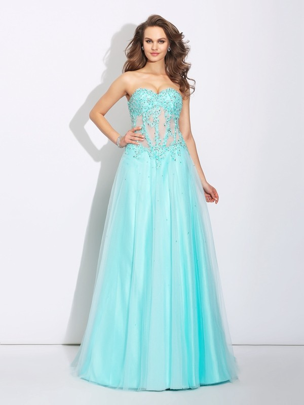 Glamorous A-Line Sweetheart Lace Sleeveless Long Net Dress