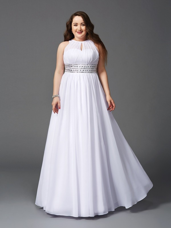 Glamorous A-Line Jewel Sleeveless Long Chiffon Plus Size Dress