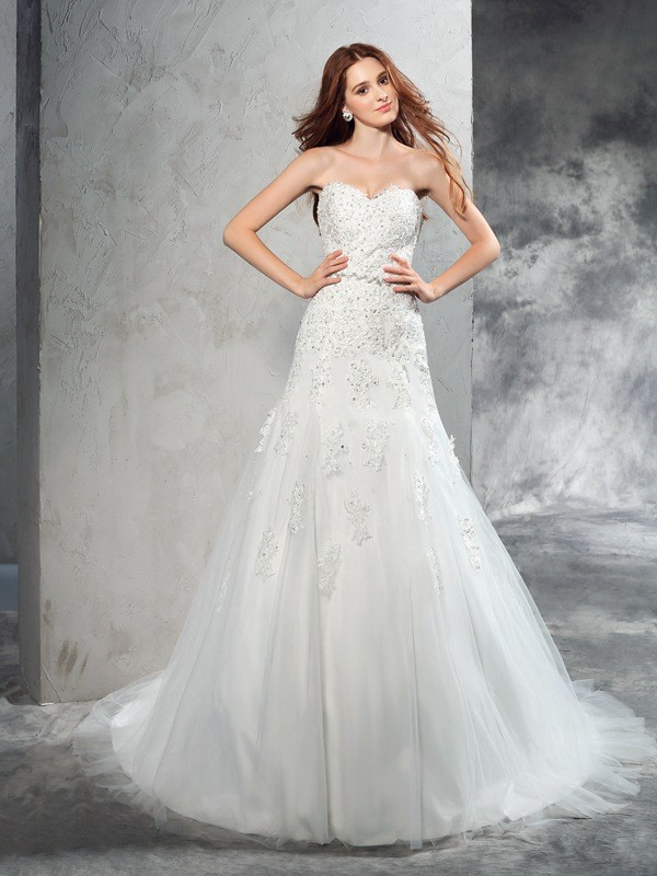 Glamorous Sheath Sweetheart Sleeveless Long Satin Wedding Dress