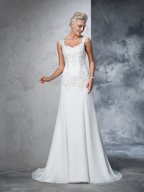 Glamorous A-Line Straps Sleeveless Long Chiffon Wedding Dress